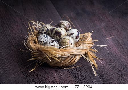 Quail eggs in nest. Heap of quail eggs in hay on dark wooden background