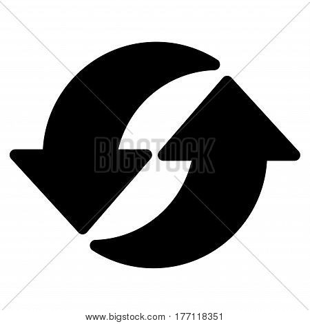 Refresh vector icon. Flat black symbol. Pictogram is isolated on a white background. Designed for web and software interfaces.