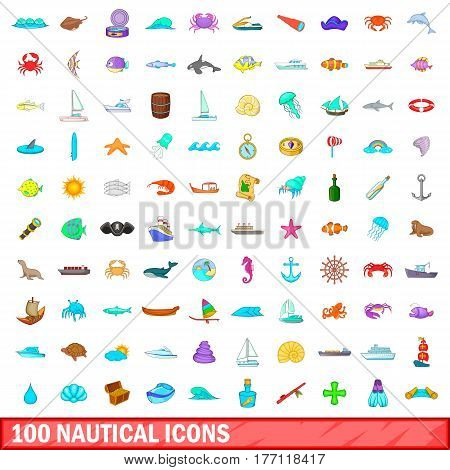100 nautical icons set in cartoon style for any design vector illustration