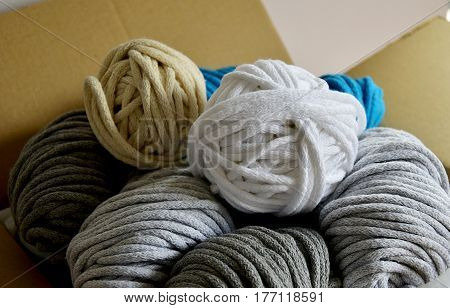 package with a colorful cord cotton for hand knitting