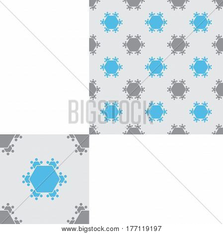 Seamless geometric gray and blue hexagon pattern with pattern unit.