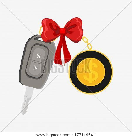Car Key Wrapped With Red Ribbon