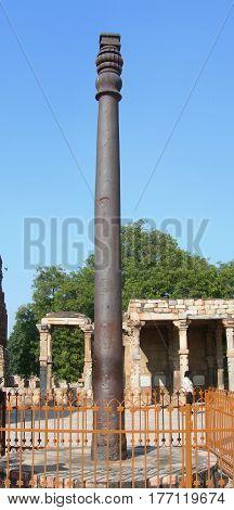 The Qutub Minar Iron Pillar In New Delhi, India.