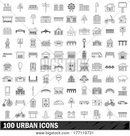 100 urban set in outline style for any design vector illustration