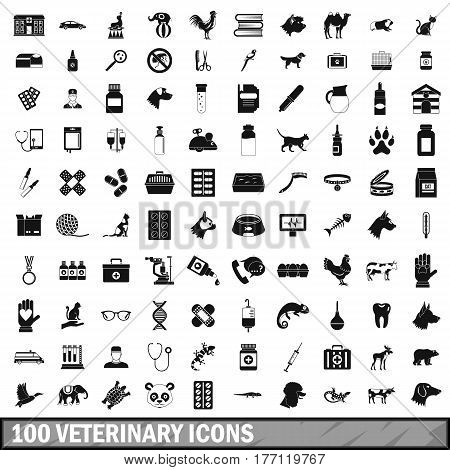 100 veterinary icons set in simple style for any design vector illustration