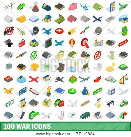 100 war icons set in isometric 3d style for any design vector illustration