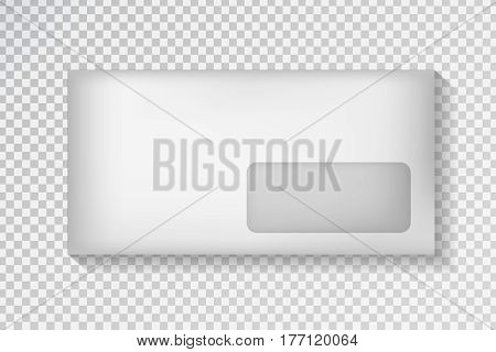 Vector realistic envelope on the transparent background. White package template for decoration and corporate identity.