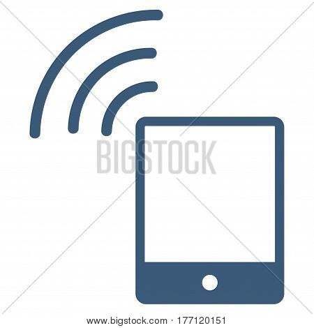Smartphone Wi-Fi Signal vector icon. Flat blue symbol. Pictogram is isolated on a white background. Designed for web and software interfaces.