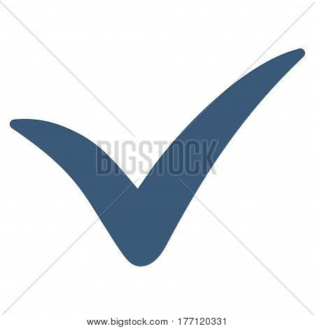 Yes vector icon. Flat blue symbol. Pictogram is isolated on a white background. Designed for web and software interfaces.