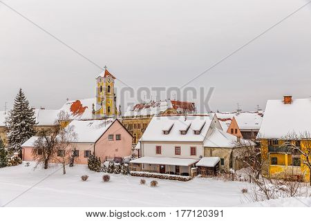 Varazdin Old Town in winter time, one of the most important tourist centers of northern Croatia.