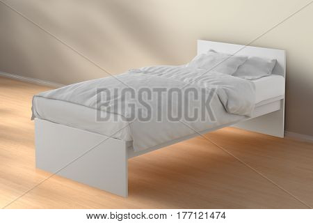 Twin Size Single Bed In Morning Sunlight Interior