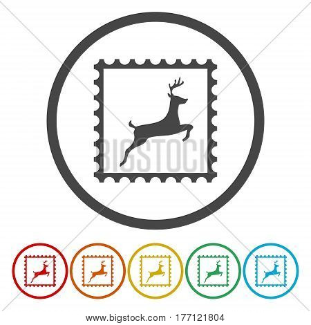 Christmas Vector post stamps on white background