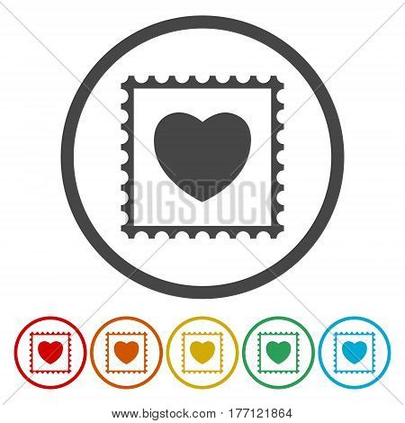 Vector post Stamp heart on white background