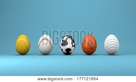 Easter eggs design concept 3d illustration 3d render.