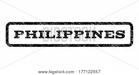 Philippines watermark stamp. Text caption inside rounded rectangle with grunge design style. Rubber seal stamp with unclean texture. Vector black ink imprint on a white background.
