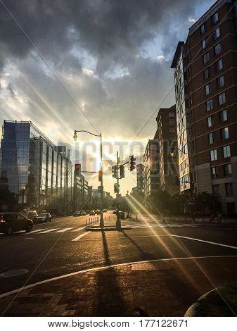 City Street Sunset And Highrises