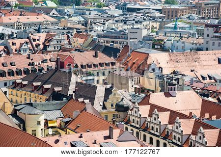 Scenic aerial panorama of the Old Town architecture of Munich, Bavaria, Germany