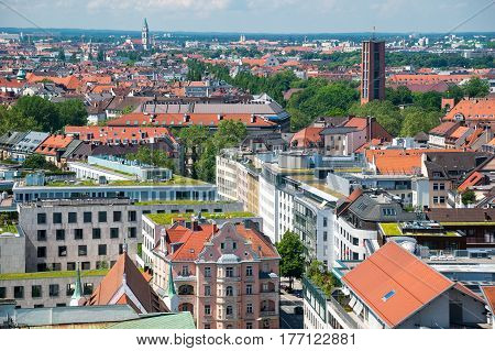 The aerial view of Munich city center from the tower of the City Hall