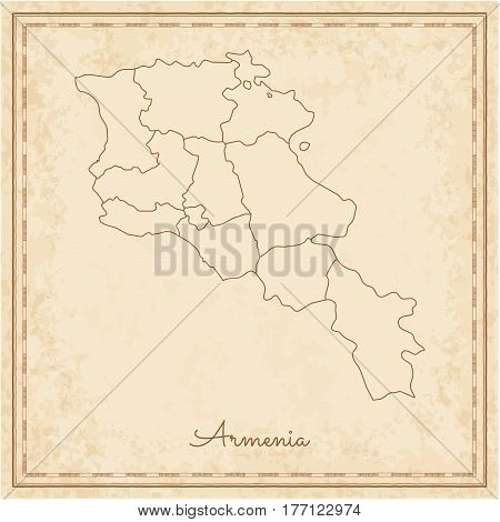 Armenia Region Map: Stilyzed Old Pirate Parchment Imitation. Detailed Map Of Armenia Regions. Vector
