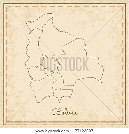 Bolivia Region Map: Stilyzed Old Pirate Parchment Imitation. Detailed Map Of Bolivia Regions. Vector