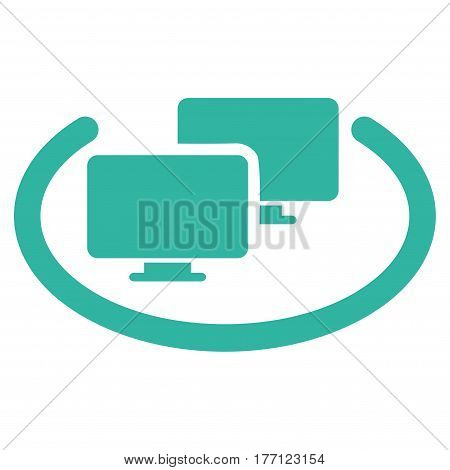 Intranet Computers vector icon. Flat cyan symbol. Pictogram is isolated on a white background. Designed for web and software interfaces.