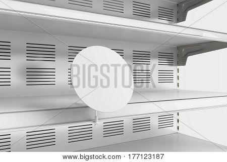 Closeup Of Empty Refrigerator Showcase