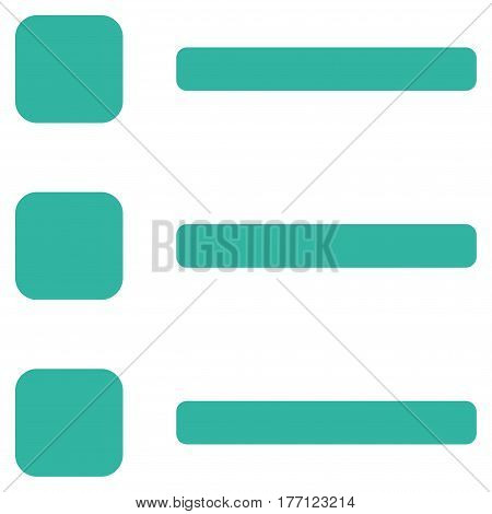 Items vector icon. Flat cyan symbol. Pictogram is isolated on a white background. Designed for web and software interfaces.