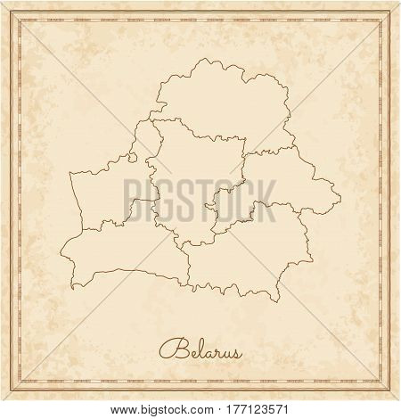 Belarus Region Map: Stilyzed Old Pirate Parchment Imitation. Detailed Map Of Belarus Regions. Vector