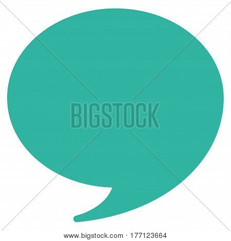 Quote vector icon. Flat cyan symbol. Pictogram is isolated on a white background. Designed for web and software interfaces.