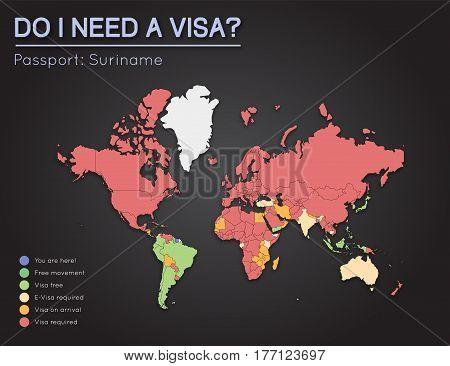 Visas Information For Republic Of Suriname Passport Holders. Year 2017. World Map Infographics Showi