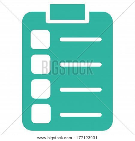 Tasks vector icon. Flat cyan symbol. Pictogram is isolated on a white background. Designed for web and software interfaces.