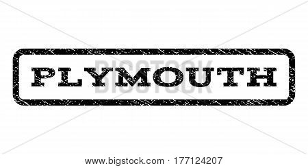 Plymouth watermark stamp. Text tag inside rounded rectangle with grunge design style. Rubber seal stamp with dust texture. Vector black ink imprint on a white background.
