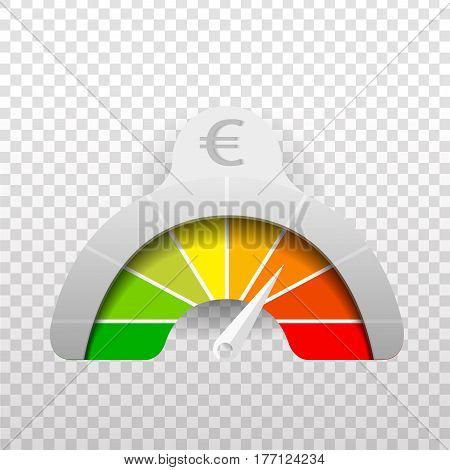 Vector realistic meter of euro currency value on the dark background.