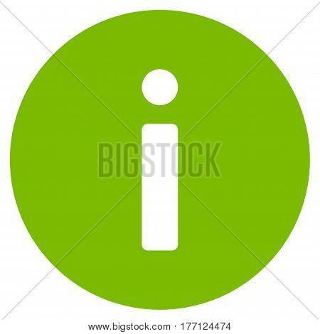 Info vector icon. Flat eco green symbol. Pictogram is isolated on a white background. Designed for web and software interfaces.