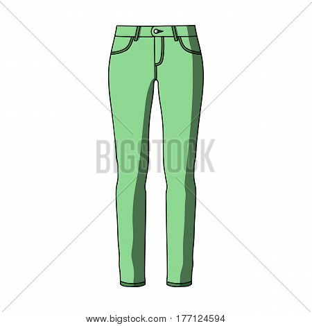 Green skinny pants for women. Women's clothes for a walk.Women clothing single icon in cartoon style vector symbol stock web illustration.