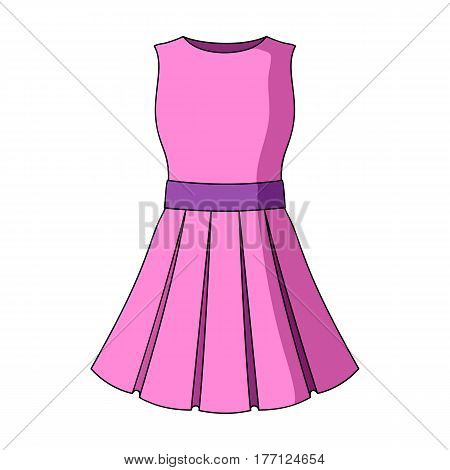 Beautiful light pink summer dress without sleeves. Clothing for a hike to the beach.Women clothing single icon in cartoon style vector symbol stock web illustration.