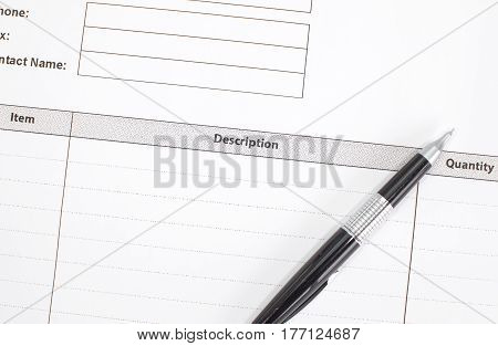 Close - up Business invoice paper form