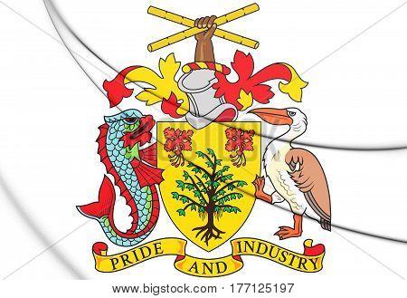 3D Barbados Coat Of Arms. 3D Illustration.