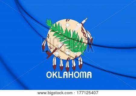 3D Flag Of Oklahoma, Usa. 3D Illustration.