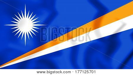 3D Republic Of The Marshall Islands Flag. 3D Illustration.