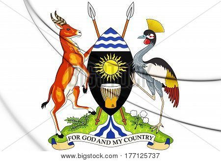 3D Uganda Coat Of Arms. 3D Illustration.