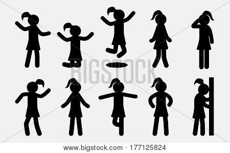 Simple Girl silhouettes set. Woman in different poses. Female Female Icons