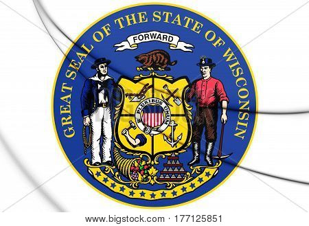 State Seal Of Wisconsin, Usa. 3D Illustration.