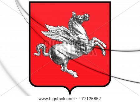 Tuscany Coat Of Arms, Italy. 3D Illustration.