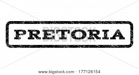 Pretoria watermark stamp. Text caption inside rounded rectangle frame with grunge design style. Rubber seal stamp with dust texture. Vector black ink imprint on a white background.