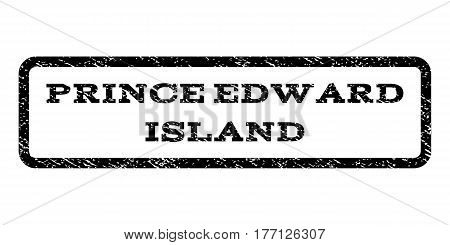 Prince Edward Island watermark stamp. Text caption inside rounded rectangle frame with grunge design style. Rubber seal stamp with dirty texture. Vector black ink imprint on a white background.