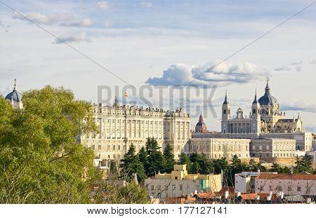Aerial view of Santa Maria la Real de La Almudena and Royal Palace in Madrid Spain