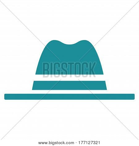 Hat vector icon. Flat soft blue symbol. Pictogram is isolated on a white background. Designed for web and software interfaces.