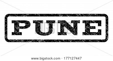 Pune watermark stamp. Text tag inside rounded rectangle with grunge design style. Rubber seal stamp with scratched texture. Vector black ink imprint on a white background.