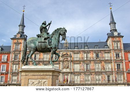 Monument of Philip III on Plaza Mayor in Madrid Spain
